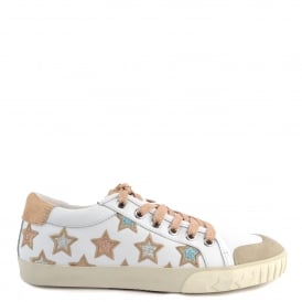MAJESTIC Star Motif Trainers White Leather & Beige Pony Hair