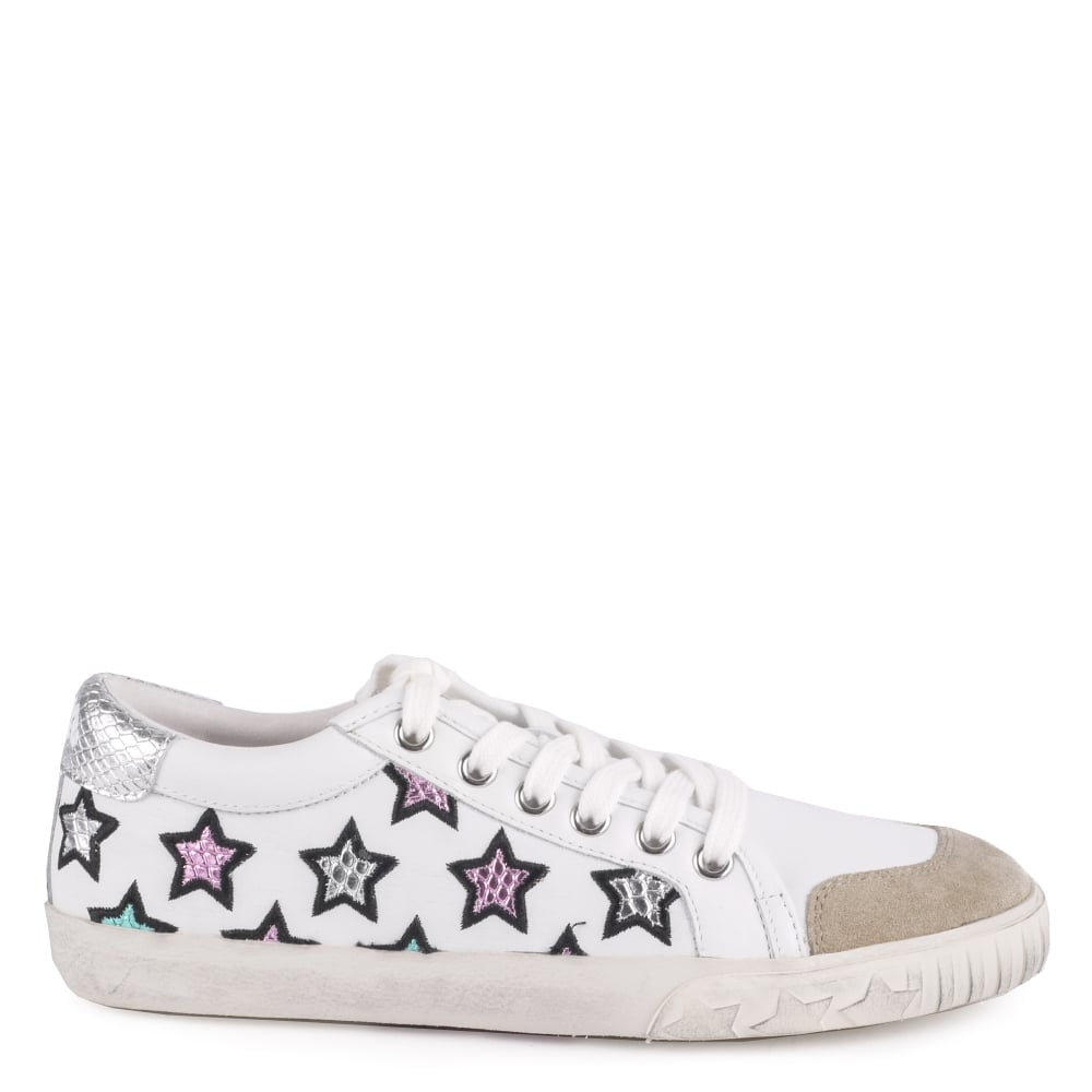 MAJESTIC Star Motif Trainers White Leather Silver Accent