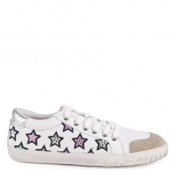 Ash MAJESTIC Star Motif Trainers White Leather Silver Accent