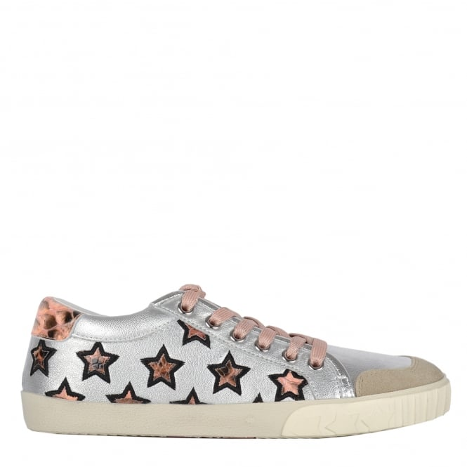 Ash MAJESTIC Star Trainers Silver Leather & Python Print Leather