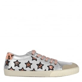 MAJESTIC Star Trainers Silver Leather & Python Print Leather