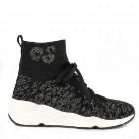 MANIAC Stretch Cuff Trainers Black & Fiesta Knit