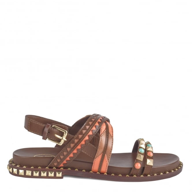 Ash MASSAI Sandals Cacao Peach and Brown Leather With Gold Studs