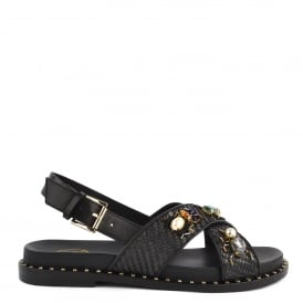 MAYA Sandals Black Woven Leather & Gemstone
