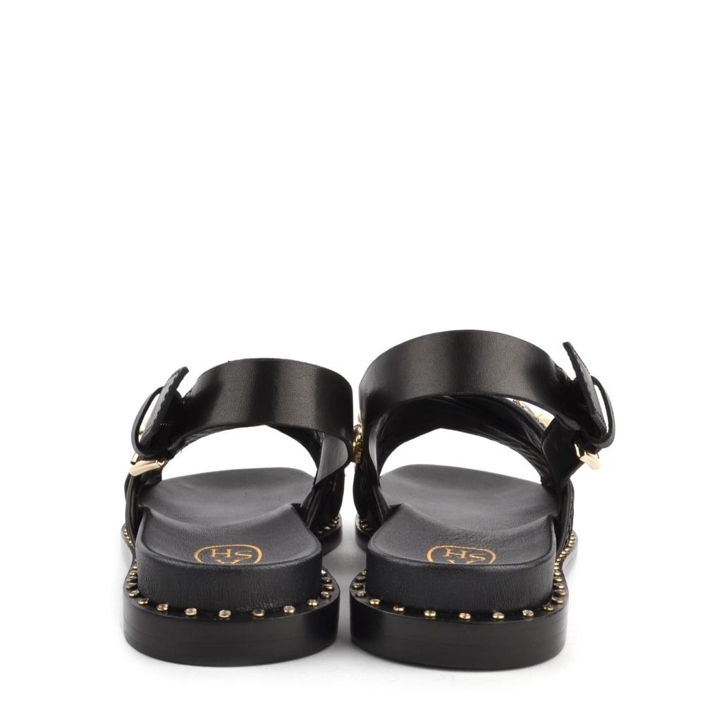 abf71b8b422a MAYA Sandals Black Woven Leather  amp  Gemstone
