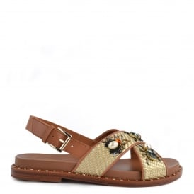 MAYA Sandals Tan Woven Leather & Gemstones