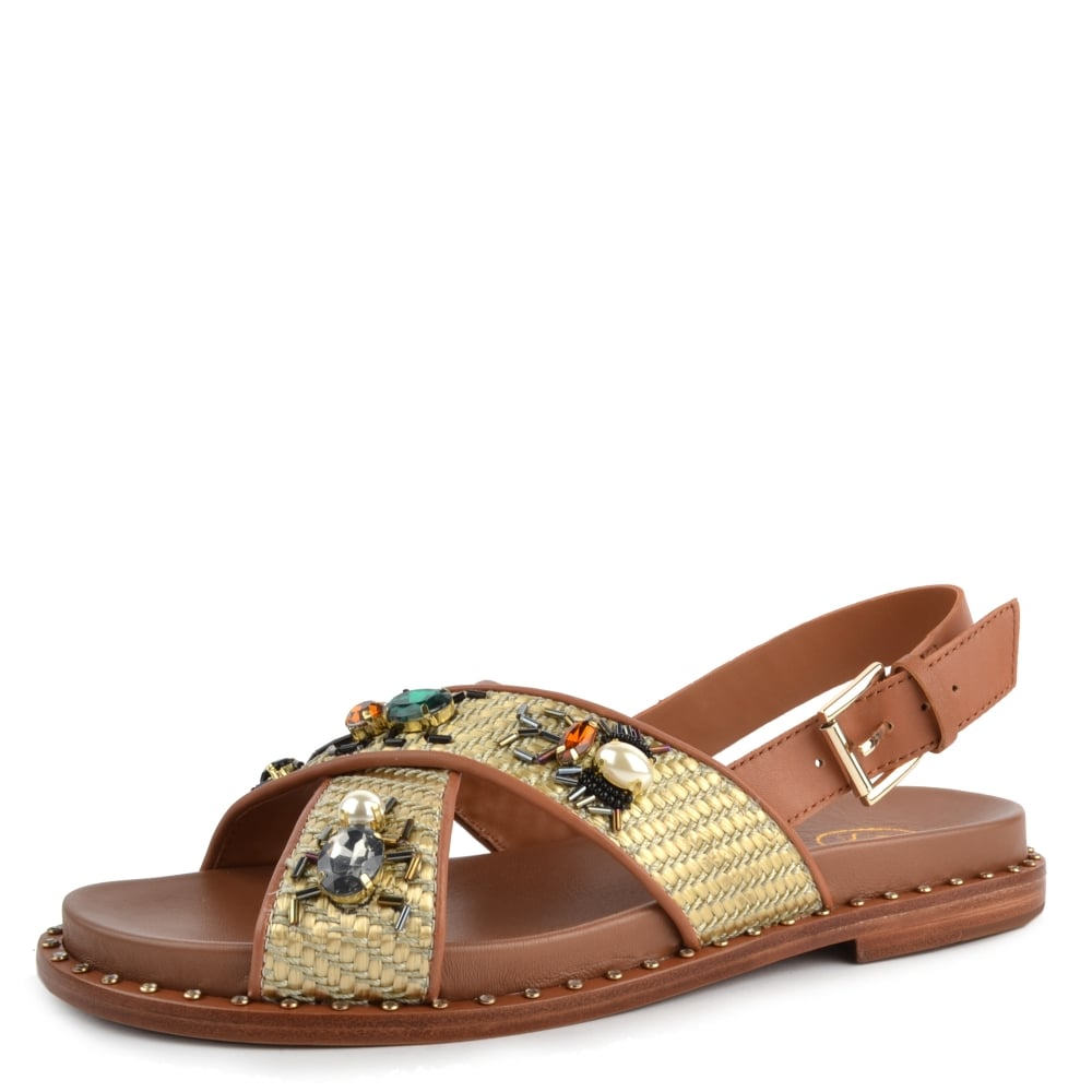 a39cc6f7883a MAYA Sandals Tan Woven Leather  amp  Gemstones