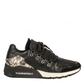 Men's MALCOM Trainers Black & Cobra Leather