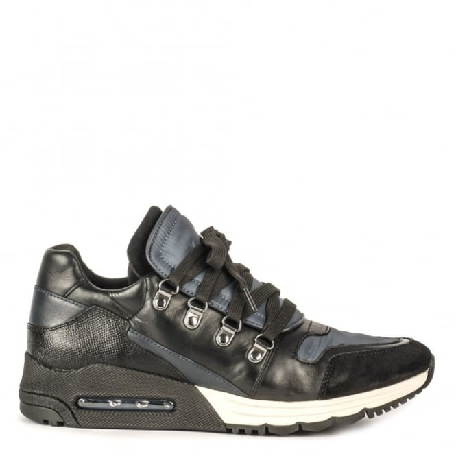 Ash Men's MALCOM Trainers Black & Midnight Leather