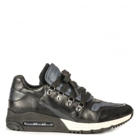 Men's MALCOM Trainers Black & Midnight Leather