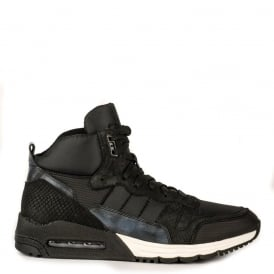 Men's MAXWELL Trainers Black Python & Nylon