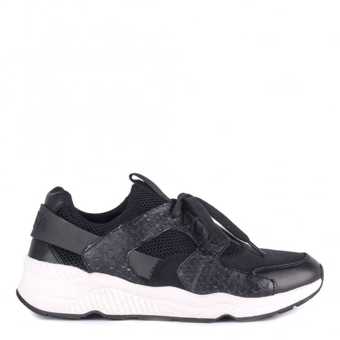 Ash Mens MIKE BIS Trainers Black Python Leather & Mesh