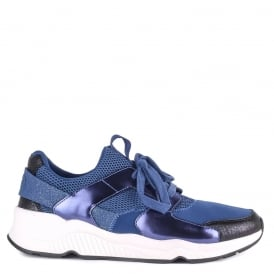 Men's MIKE BIS Trainers Midnight Blue Mesh & Neoprene
