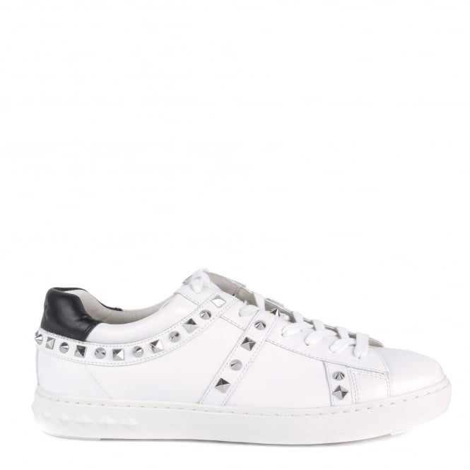 Ash Men's PODIUM Trainers White Leather & Silver Studs