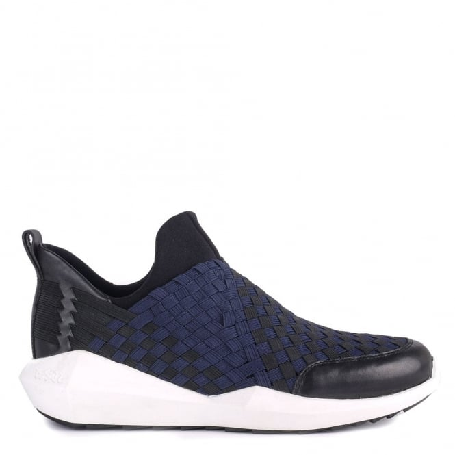 Ash Mens QUINCY Trainers Woven Navy & Black