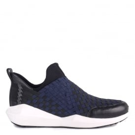Mens QUINCY Trainers Woven Navy & Black