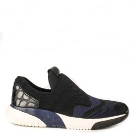 Men's SPOT Trainers Black & Indigo Woven Fabric and Leather