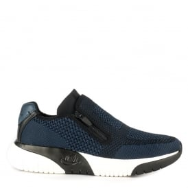 Mens STING Trainers Ocean Blue & Black Knit Fabric & Leather