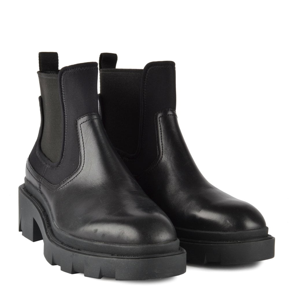 Women's Chunky Black Leather Boots
