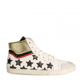 MIKADO Hi-Top Trainers Star Embroidered White Leather