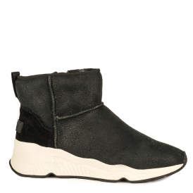 MIKO Boots Black Suede & Grey Fur Lining