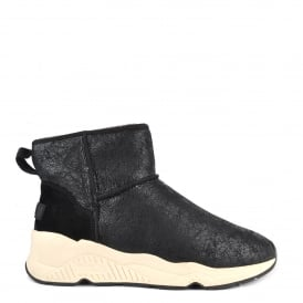 MIKO Shearling Boots Black Cracked Suede