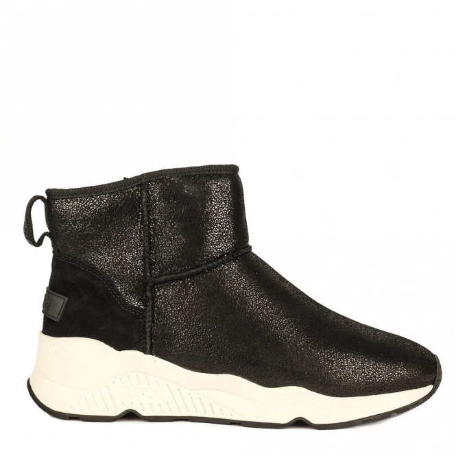 Ash MIKO Shearling Boots Black Glitter & Suede