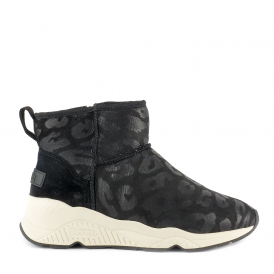 MIKO Shearling Boots Cheetah Print Black Suede