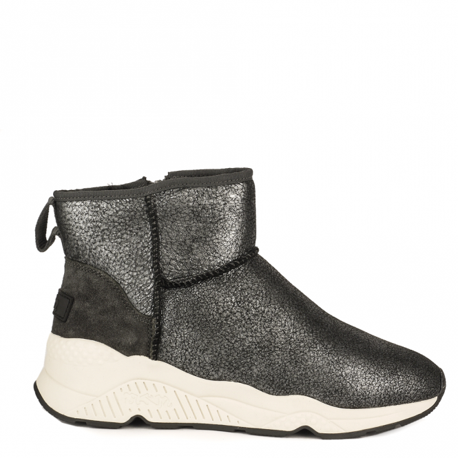Ash MIKO Shearling Boots Metallic Grey Cracked Suede