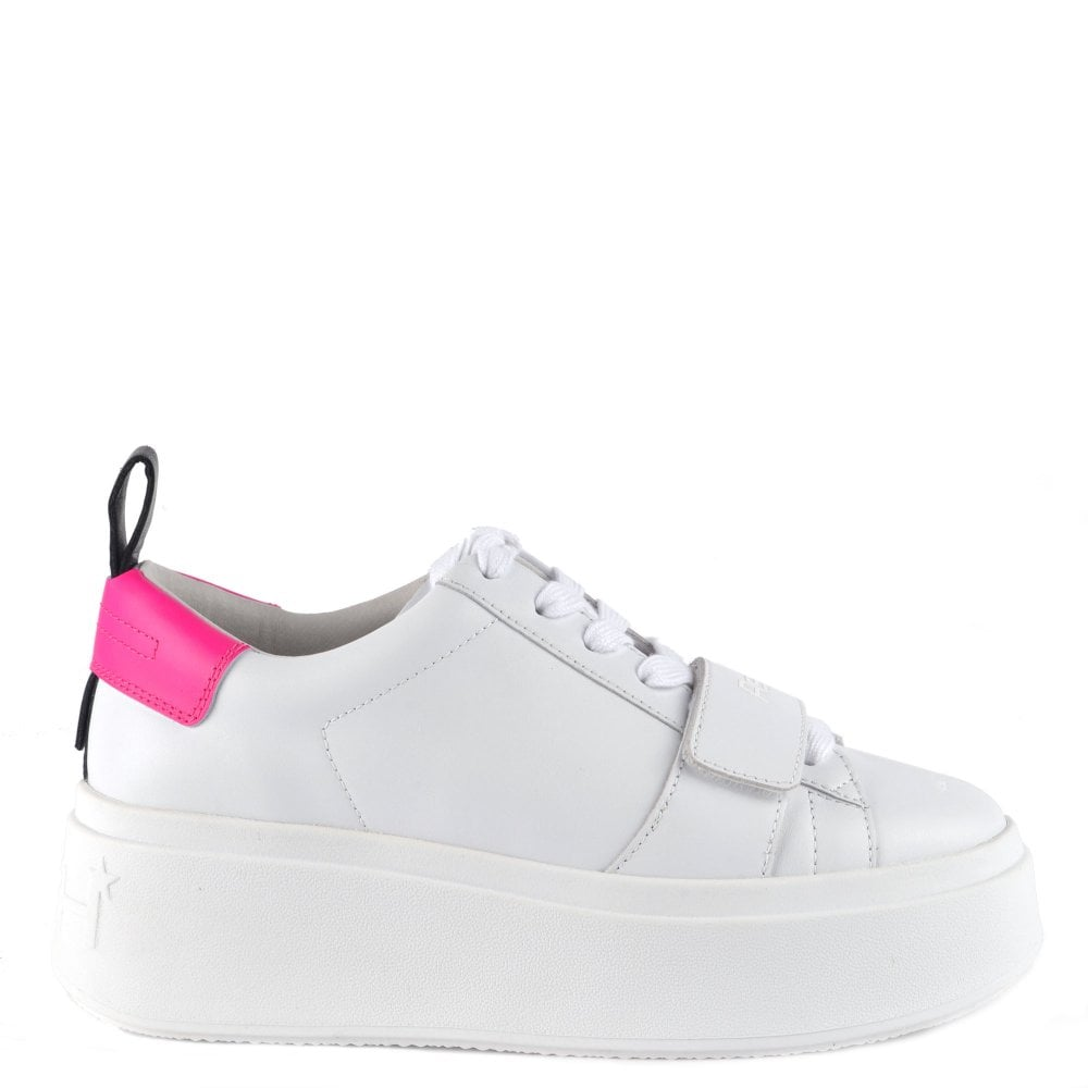 white platform leather trainers