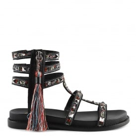 MIRACLE Sandals Black Leather & Tapestry