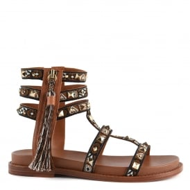 MIRACLE Sandals Brown Leather & Tapestry