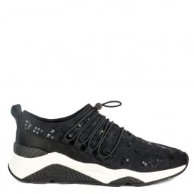 MISS RETE Trainers Black Lace & Satin