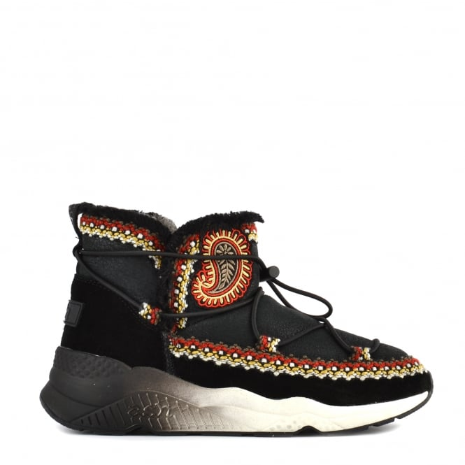 Ash MITSOUKO ETNIC Embroidered Boots Black Suede