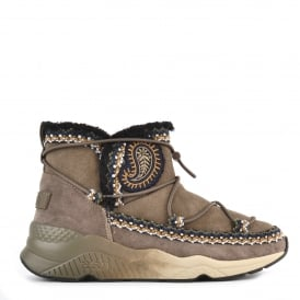 MITSOUKO ETNIC Embroidered Boots Topo Suede
