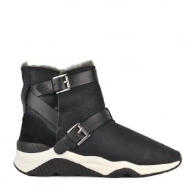 MOCHI Shearling Lined Boots Black Suede