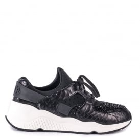 MOOD Trainers Black Neoprene & Python Scale Leather