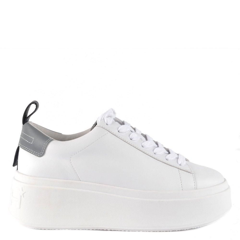 white flatform trainers uk