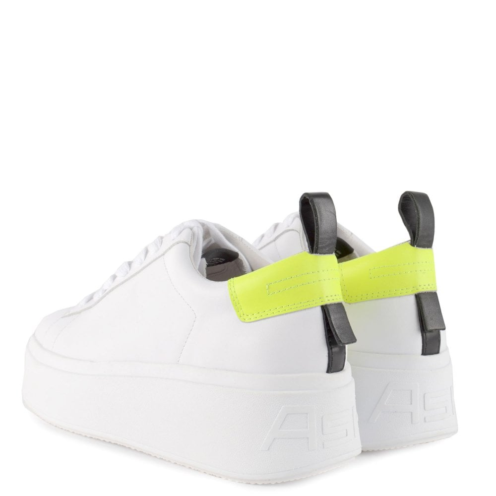 White Leather Platform Sneakers   Ash