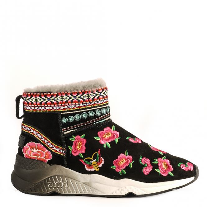 Ash MUJI Floral Embroidered Boots Black Suede