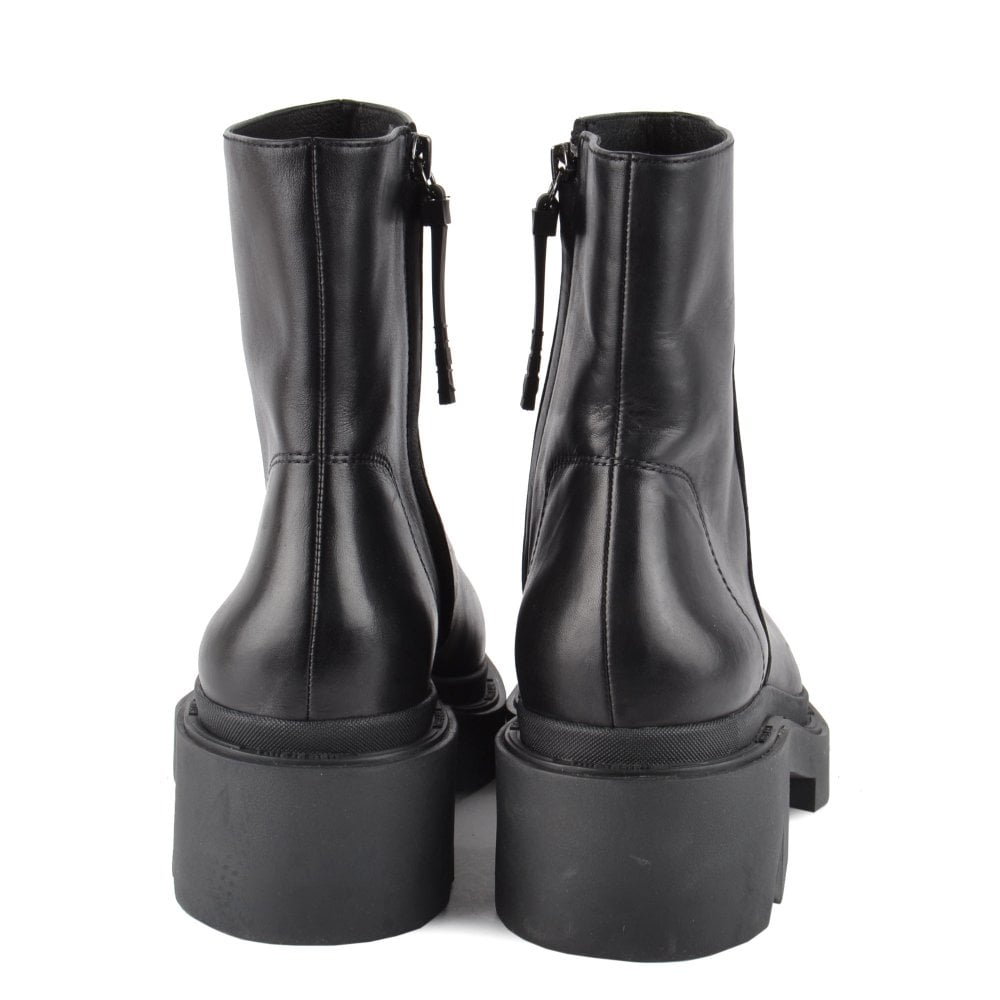 Chunky Sole Black Leather Boots   Ash