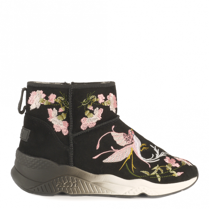 Ash MUSE Embroidered Shearling Boots Black Suede