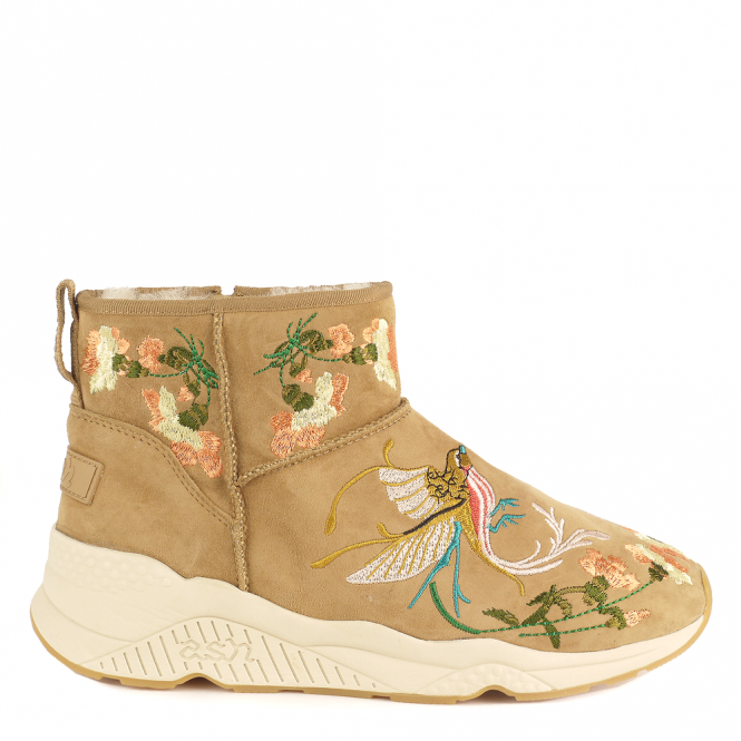 Ash MUSE Embroidered Shearling Boots Camel Suede