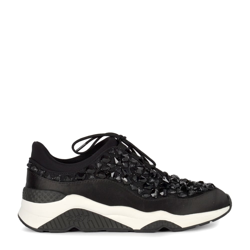 MUSE STONES Embellished Trainers Black Lace & ...