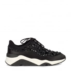 MUSE STONES Embellished Trainers Black Lace & Satin