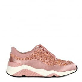 MUSE STONES Embellished Trainers Blush Pink Lace & Satin