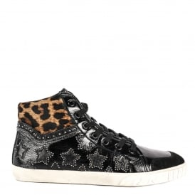 MUSIK BIS Hi-Top Trainers Black Leather & Leopard Print