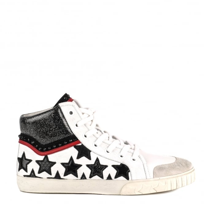 Ash MUSIK Hi-Top Trainers Off White Leather & Cosmic Black
