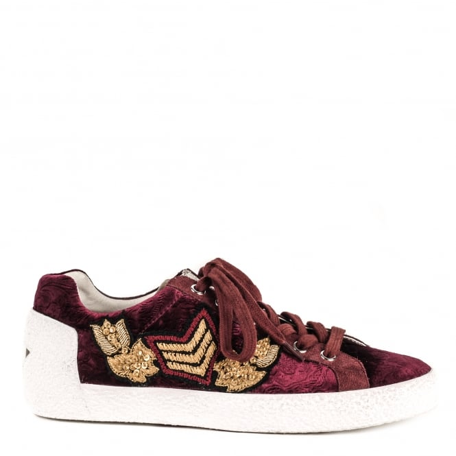 Ash NAK ARMS Trainers Bordeaux Suede & Printed Satin