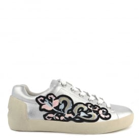 NAK BIS Trainers Silver & Black Leather With Embroidery Motif